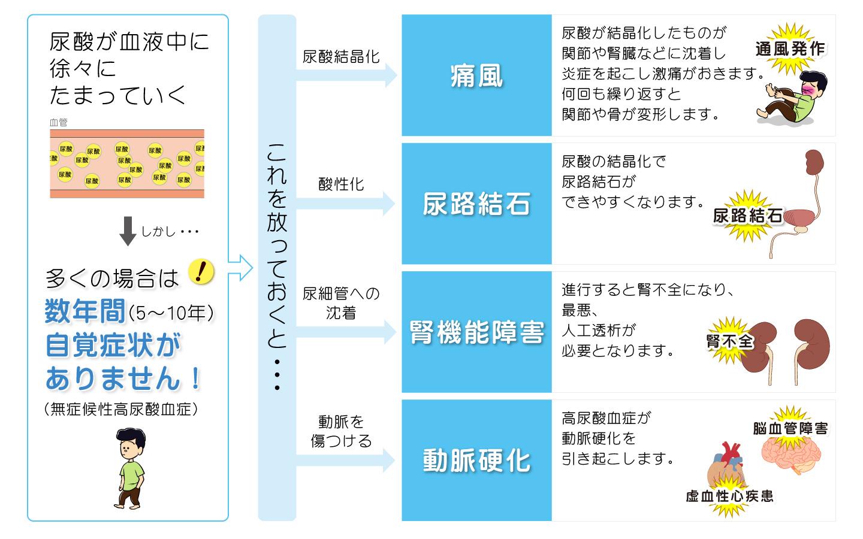 高尿酸血症が原因で発生する疾患の説明